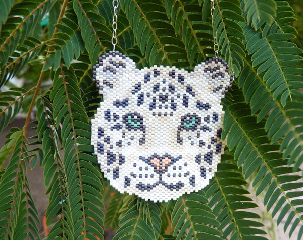 Snow Leopard Wild Cat Seed Beaded Pendant Necklace-Maddiethekat Designs