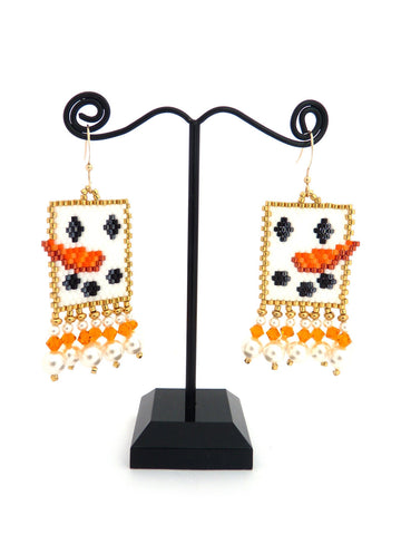 Snowman Face Peyote Beaded Earrings Christmas-Maddiethekat Designs