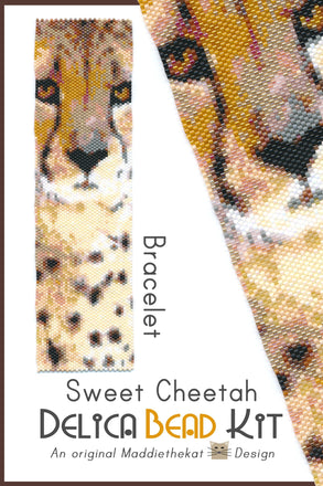 Sweet Cheetah Wide Cuff Bracelet Delica Peyote Bead Pattern or KIT-Maddiethekat Designs