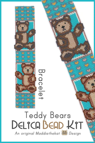 Teddy Bears Bracelet Delica Peyote Bead Pattern or KIT DIY-Maddiethekat Designs