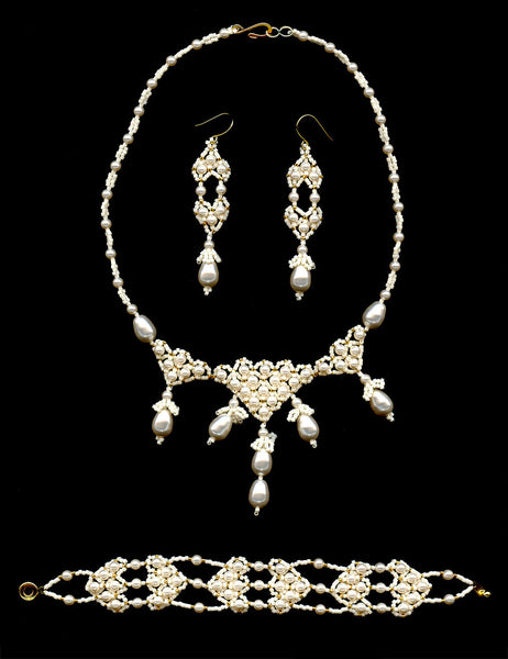 Tiara Necklace Bracelet and Earrings Beaded Swarovski Pearl Set-Maddiethekat Designs