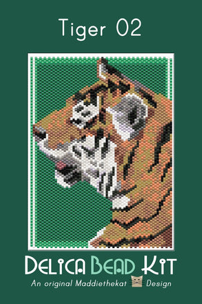 Tiger 02 Small Panel Peyote Seed Bead Pattern PDF or KIT DIY-Maddiethekat Designs
