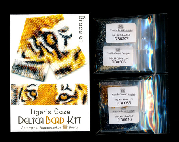 Tiger's Gaze Wide Cuff Bracelet Delica 2-Drop Peyote Bead Pattern or KIT-Maddiethekat Designs