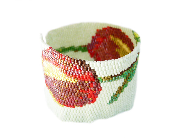 Tulip Flowers Wide Cuff 2-Drop Peyote Seed Beaded Bracelet-Maddiethekat Designs