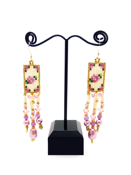 Victorian Roses Long Dangle Beaded Earrings in Pinks, Gold and Ivory-Maddiethekat Designs