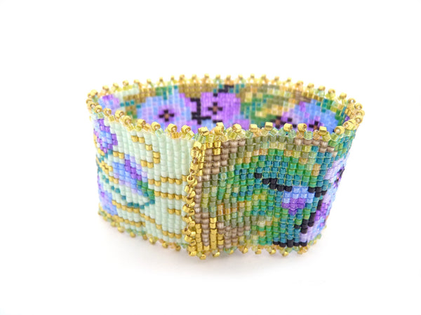Violets Flower Garden Beaded Bracelet with Purples, Greens and Blues-Maddiethekat Designs