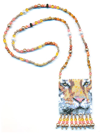 Wild Cat Tiger Peyote Seed Beaded Necklace-Maddiethekat Designs