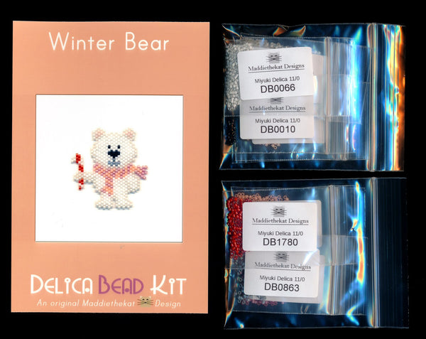 Winter Bear Brick Stitch Seed Bead Pattern PDF or KIT DIY Polar-Maddiethekat Designs
