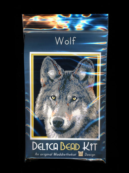 Wolf 01 Larger Panel Peyote Bead Pattern PDF or KIT DIY-Maddiethekat Designs