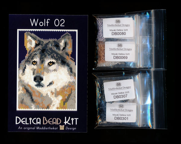 Wolf 02 Small Panel Peyote Bead Pattern PDF or KIT DIY-Maddiethekat Designs