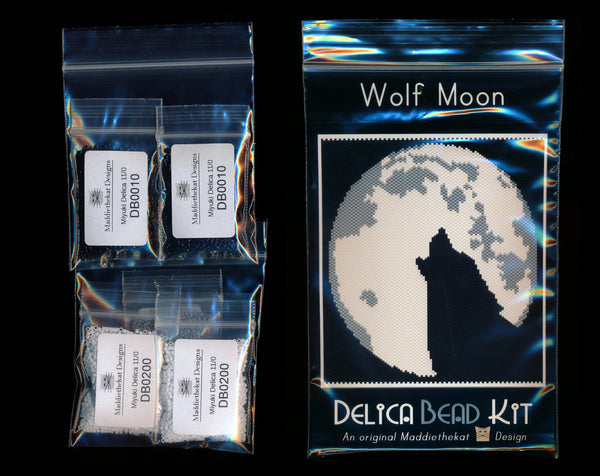 Wolf Moon - Simple - Larger Panel Peyote Bead Pattern PDF or KIT DIY