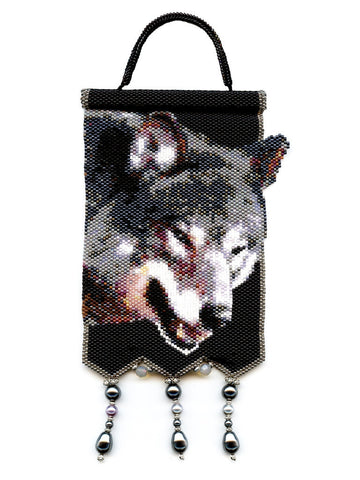 Wolf Small Beaded Tapestry Panel in Peyote-Maddiethekat Designs