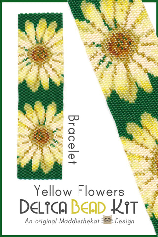 Yellow Flowers Wide Cuff Bracelet 2-Drop Peyote Bead Pattern or KIT DIY Flowers-Maddiethekat Designs