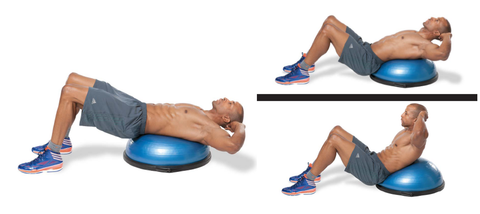 Crunch on a Bosu Ball to boost ab development