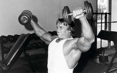 Arnold Schwarzenegger used lateral raises and tilted his pinkies up at the end of each rep
