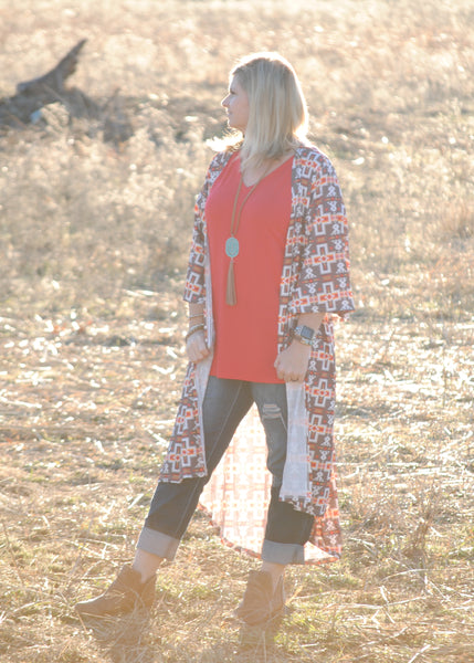 Colors of Sunset Aztec Duster - Rolling Ranch Boutique