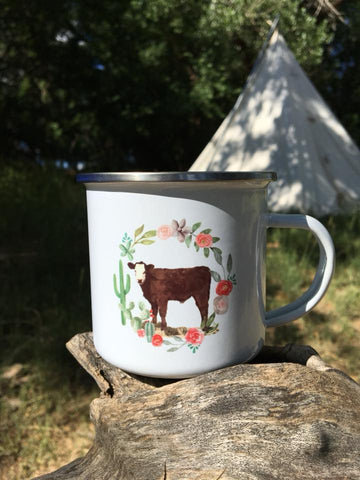 Calf with Cactus Wreath | Camp Mug - Rolling Ranch Boutique