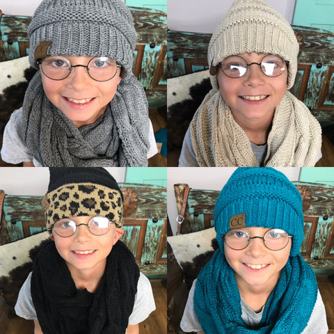CC Beanie and Scarf Combo - Rolling Ranch Boutique