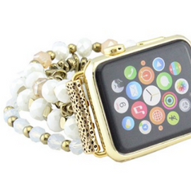 Beaded Apple Watch Band   White   42 and 38mm *Final Sale*