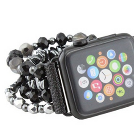 Beaded Apple Watch Band   Black  42 and 38mm *Final Sale*