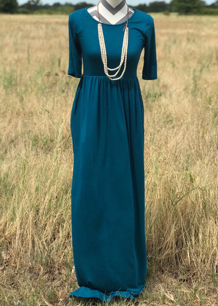 Short Sleeve Pocket Maxi | Teal - Rolling Ranch Boutique