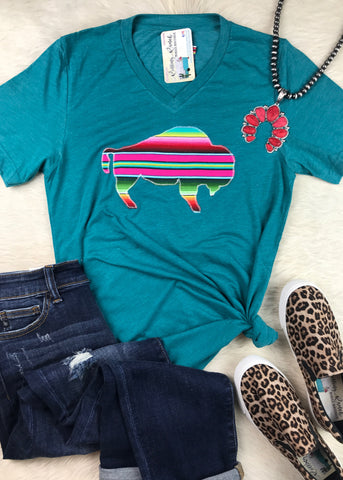 Serape Buffalo V Neck