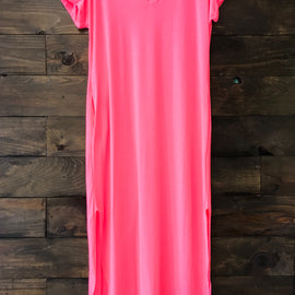 SALE PRICED | Neon Pink Maxi Pocket Dress *Final Sale*