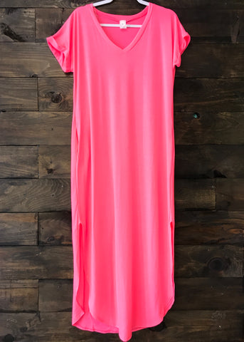 Neon Pink Maxi Pocket Dress