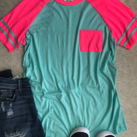 Neon Pink and Mint Ringer Tee *Final Sale*