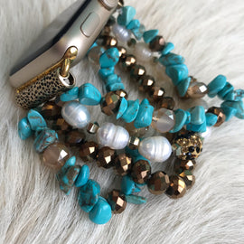 Turquoise and Gold Beaded Apple Watch Band