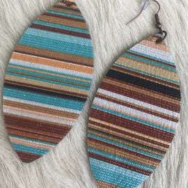 Turquoise and Brown Serape Earrings