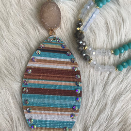 Turquoise and Brown Serape Necklace