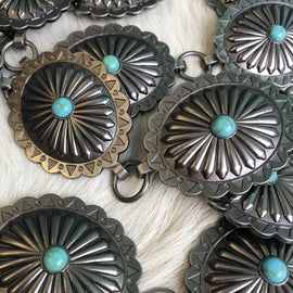 Oval and Turquoise Concho Belt  | Silver