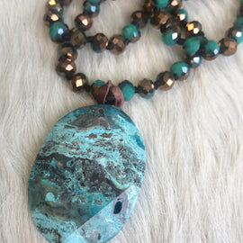 Beaded Natural Stone Tassel Necklace   Turquoise