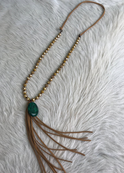 Suede Tie Tassel and Stone Necklace | Mustard
