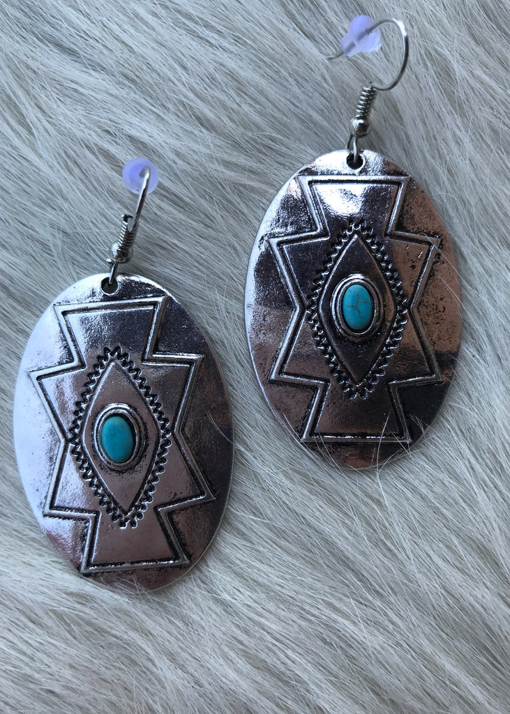 Aztec Oval Earrings - Rolling Ranch Boutique