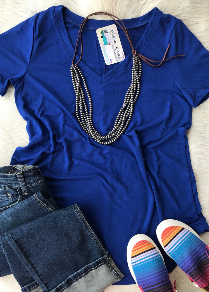 Daily V Neck | Royal - Rolling Ranch Boutique