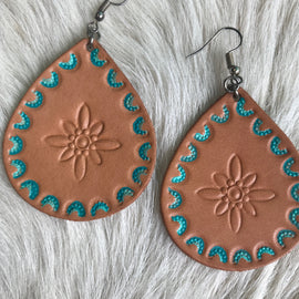 Leather and Turquoise Earrings