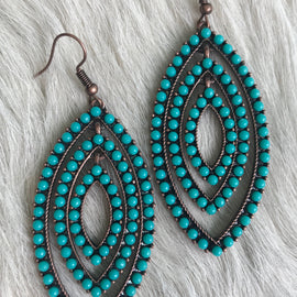 3 Layer Marquise Turquoise Earrings