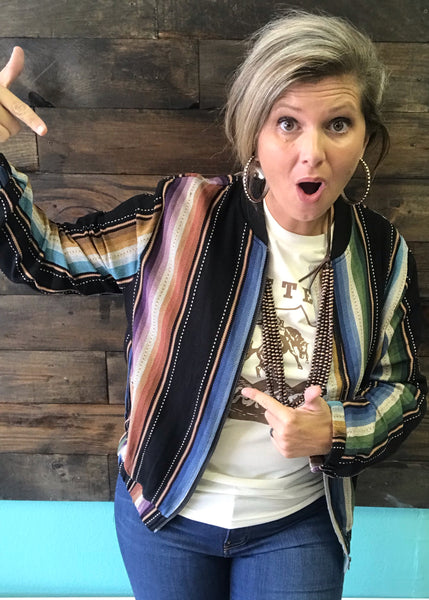 Serape Bomber Jacket | Small to 3X