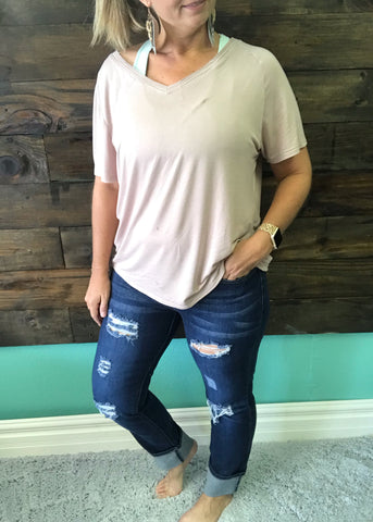 Dark Wash Distressed Boyfriend Jeans | Size 4-22 - Rolling Ranch Boutique