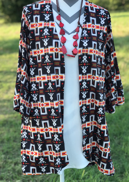 Desert NIght Aztec Kimono - Rolling Ranch Boutique