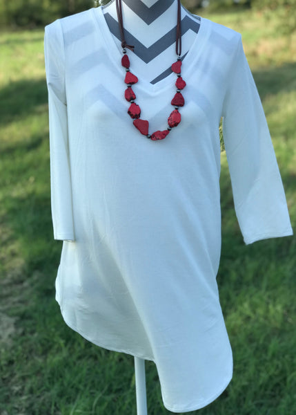 3/4 Sleeve Daily V Neck | Cream - Rolling Ranch Boutique