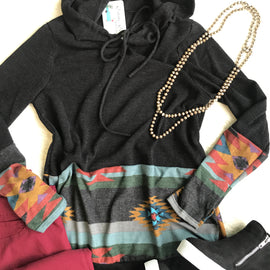 Aztec Hooded Sweater   Black   Small to 3X