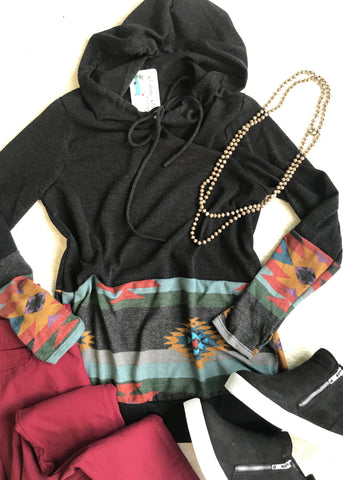 Aztec Hooded Sweater | Black | Small to 3X