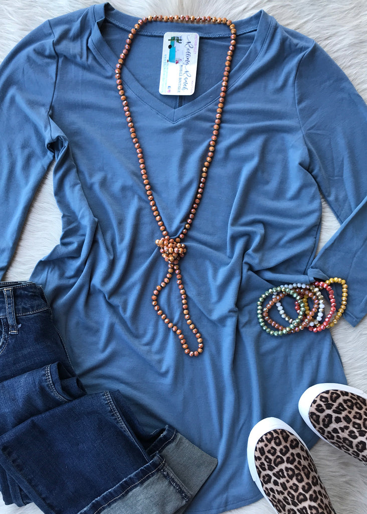 3/4 Sleeve Daily V Neck | Titanium Blue - Rolling Ranch Boutique