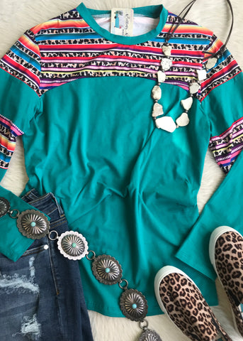 Serape and Leopard Yoke Long Sleeve | Turquoise | Small to 3X