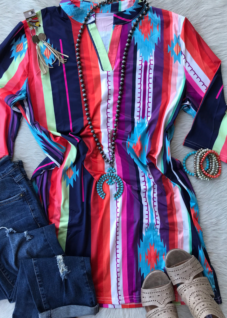 Colorful Aztec Tunic - Rolling Ranch Boutique
