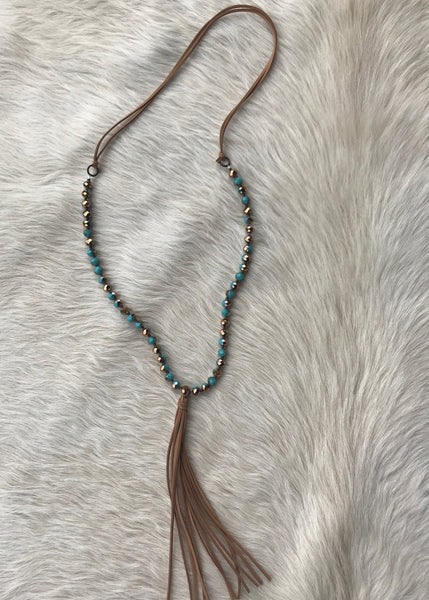 Beaded Tassel Necklace | Turquoise and Gold - Rolling Ranch Boutique