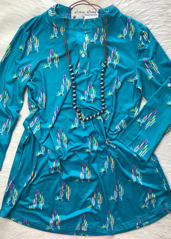 Colorful Cactus Tunic - Rolling Ranch Boutique